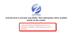 Zeek Rewards Goes Out Of Business On August 16th 2012