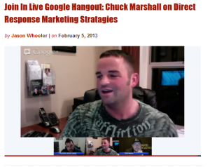 Live Google Hangout Training: Chuck Marshall on Direct Response Advertising