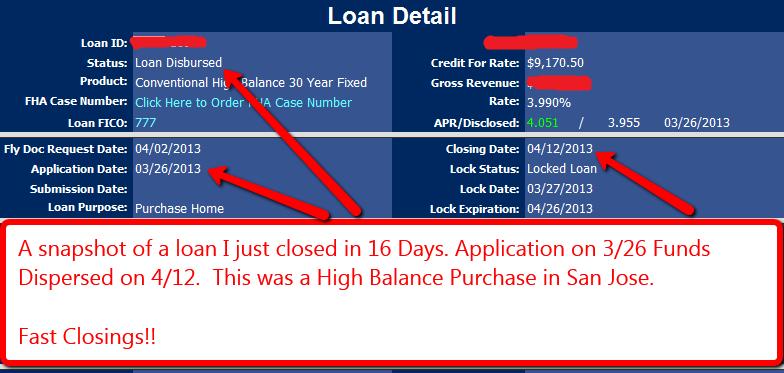 Fast Bay Area Loan Closings
